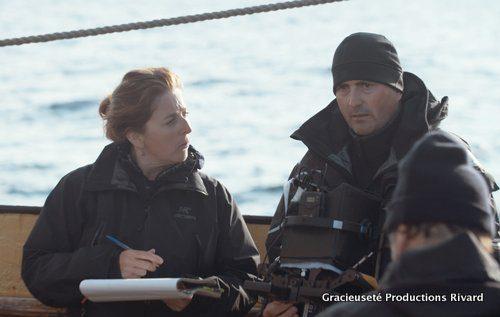 Micheline Arbez et François Balcaen à bord du bateau l'Espérance.