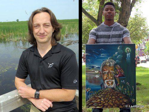 à gauche : Pascal Badiou, chercheur aquatique chez Canards Illimités. à droite : Nelson Mutima a réussi à dépasser ses traumatismes grâce au dessin et à la peinture.