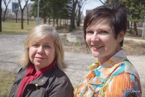 Natalie Bull et Julie Turenne-Maynard près du Jardin de contemplation, qui remplacera le rond-point situé juste en arrière d'elles.