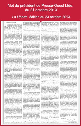 Le mot du Président du conseil d'administration de Presse Ouest Ltée. concernant la mise à jour de la situation de La Liberté.