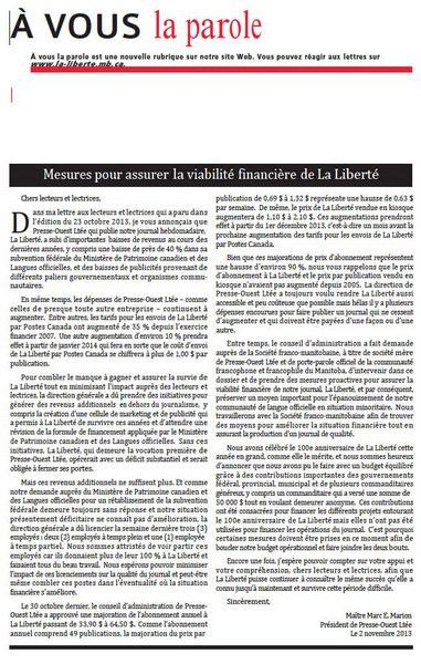 Mot du président de Presse Ouest Ltée du 6 novembre 2013.