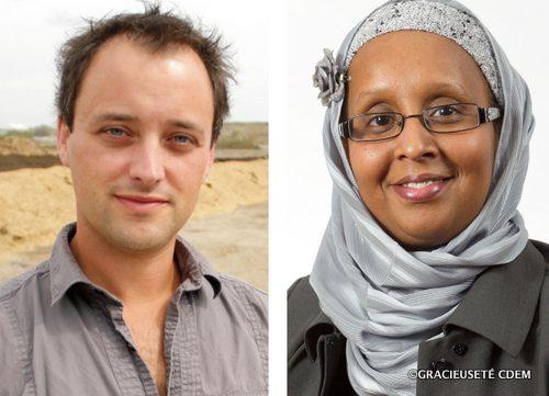 Le directeur d'Éco-Ouest au CDEM, Dany Robidoux à gauche et la gestionnaire de concertation nationale, Roukya Abdi Aden à droite.