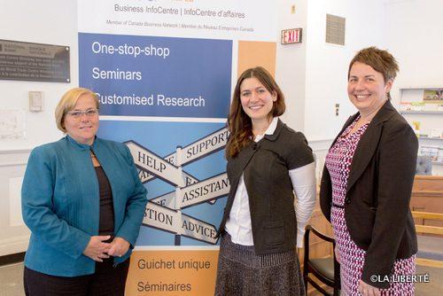 De gauche à droite : Marguerite Simard, Nathalie Roche et Nicole Fontaine, de l'InfoCentre d'affaires (BIC).