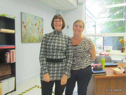 Christelle Waldie, directrice des services aux élèves à la DSFM et Colette Gagné, conseillère à l'école Précieux-Sang. En médaillon : Rita Bourgeois.